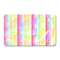 Colorful Abstract Stripes Circles And Waves Wallpaper Background Magnet (rectangular) by Amaryn4rt