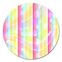 Colorful Abstract Stripes Circles And Waves Wallpaper Background Magnet 5  (round) by Amaryn4rt