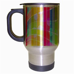 Colorful Abstract Stripes Circles And Waves Wallpaper Background Travel Mug (silver Gray) by Amaryn4rt