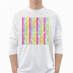 Colorful Abstract Stripes Circles And Waves Wallpaper Background White Long Sleeve T Shirts by Amaryn4rt