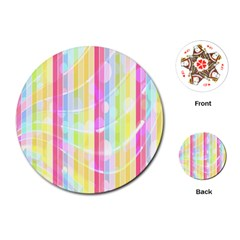 Colorful Abstract Stripes Circles And Waves Wallpaper Background Playing Cards (round)  by Amaryn4rt