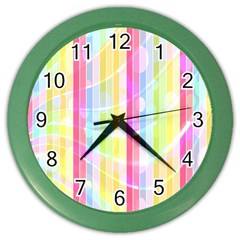 Colorful Abstract Stripes Circles And Waves Wallpaper Background Color Wall Clocks by Amaryn4rt