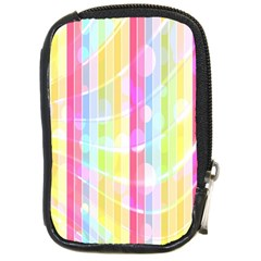 Colorful Abstract Stripes Circles And Waves Wallpaper Background Compact Camera Cases by Amaryn4rt