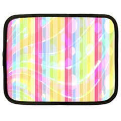 Colorful Abstract Stripes Circles And Waves Wallpaper Background Netbook Case (xxl)  by Amaryn4rt