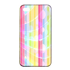 Colorful Abstract Stripes Circles And Waves Wallpaper Background Apple Iphone 4/4s Seamless Case (black) by Amaryn4rt