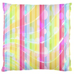Colorful Abstract Stripes Circles And Waves Wallpaper Background Large Cushion Case (two Sides) by Amaryn4rt