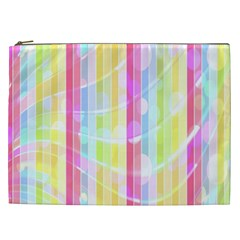 Colorful Abstract Stripes Circles And Waves Wallpaper Background Cosmetic Bag (xxl)  by Amaryn4rt
