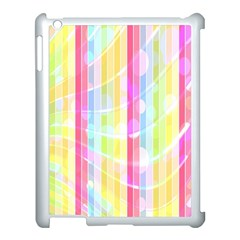 Colorful Abstract Stripes Circles And Waves Wallpaper Background Apple Ipad 3/4 Case (white) by Amaryn4rt