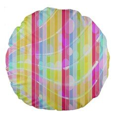 Colorful Abstract Stripes Circles And Waves Wallpaper Background Large 18  Premium Round Cushions by Amaryn4rt
