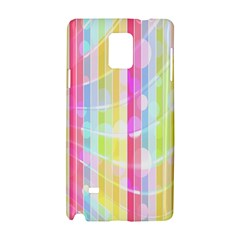 Colorful Abstract Stripes Circles And Waves Wallpaper Background Samsung Galaxy Note 4 Hardshell Case by Amaryn4rt