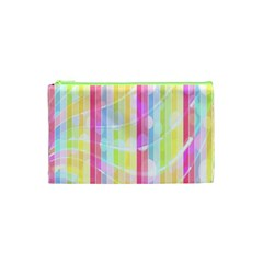 Colorful Abstract Stripes Circles And Waves Wallpaper Background Cosmetic Bag (xs) by Amaryn4rt
