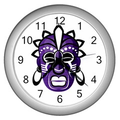 Mask Wall Clocks (silver)  by Valentinaart