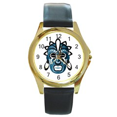 Mask Round Gold Metal Watch