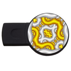 Fractal Background With Golden And Silver Pipes Usb Flash Drive Round (2 Gb) by Amaryn4rt