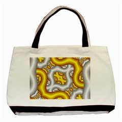 Fractal Background With Golden And Silver Pipes Basic Tote Bag by Amaryn4rt