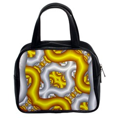 Fractal Background With Golden And Silver Pipes Classic Handbags (2 Sides) by Amaryn4rt