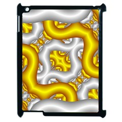 Fractal Background With Golden And Silver Pipes Apple Ipad 2 Case (black) by Amaryn4rt