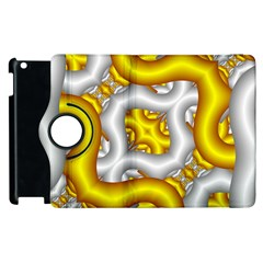 Fractal Background With Golden And Silver Pipes Apple Ipad 3/4 Flip 360 Case by Amaryn4rt