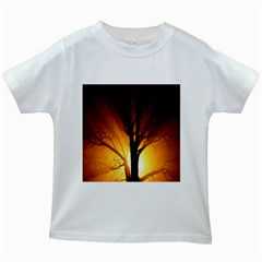 Rays Of Light Tree In Fog At Night Kids White T Shirts by Amaryn4rt