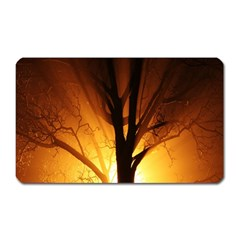 Rays Of Light Tree In Fog At Night Magnet (rectangular) by Amaryn4rt