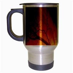 Rays Of Light Tree In Fog At Night Travel Mug (silver Gray) by Amaryn4rt
