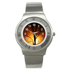 Rays Of Light Tree In Fog At Night Stainless Steel Watch by Amaryn4rt