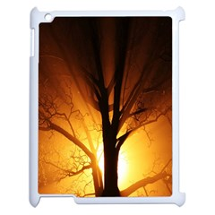 Rays Of Light Tree In Fog At Night Apple Ipad 2 Case (white) by Amaryn4rt