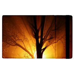 Rays Of Light Tree In Fog At Night Apple Ipad 2 Flip Case by Amaryn4rt