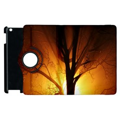 Rays Of Light Tree In Fog At Night Apple Ipad 3/4 Flip 360 Case by Amaryn4rt
