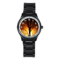 Rays Of Light Tree In Fog At Night Stainless Steel Round Watch by Amaryn4rt