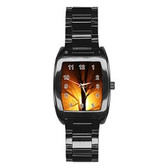 Rays Of Light Tree In Fog At Night Stainless Steel Barrel Watch by Amaryn4rt