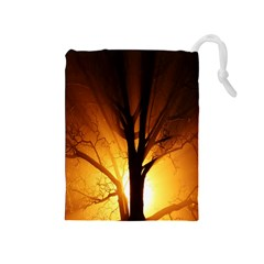Rays Of Light Tree In Fog At Night Drawstring Pouches (medium)  by Amaryn4rt