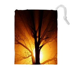 Rays Of Light Tree In Fog At Night Drawstring Pouches (extra Large)