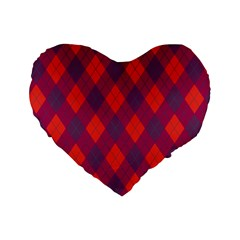 Plaid Pattern Standard 16  Premium Flano Heart Shape Cushions by Valentinaart