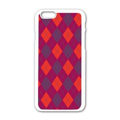 Plaid Pattern Apple Iphone 6/6s White Enamel Case by Valentinaart