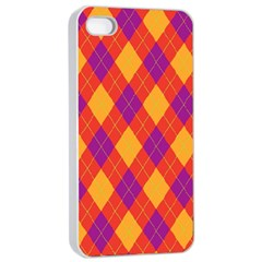 Plaid Pattern Apple Iphone 4/4s Seamless Case (white)