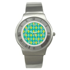 Plaid Pattern Stainless Steel Watch