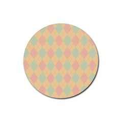Plaid Pattern Rubber Coaster (round)  by Valentinaart