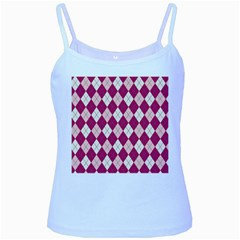 Plaid Pattern Baby Blue Spaghetti Tank by Valentinaart