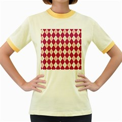 Plaid Pattern Women s Fitted Ringer T Shirts by Valentinaart