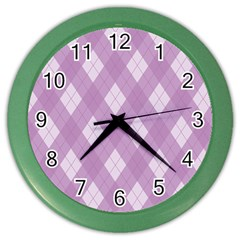 Plaid Pattern Color Wall Clocks by Valentinaart