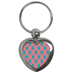 Plaid Pattern Key Chains (heart)  by Valentinaart