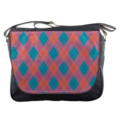 Plaid Pattern Messenger Bags by Valentinaart