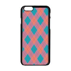 Plaid Pattern Apple Iphone 6/6s Black Enamel Case by Valentinaart