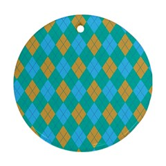 Plaid Pattern Round Ornament (two Sides) by Valentinaart