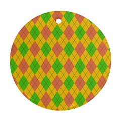 Plaid Pattern Round Ornament (two Sides)