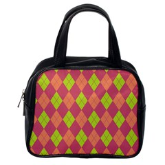 Plaid Pattern Classic Handbags (one Side) by Valentinaart