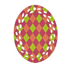 Plaid Pattern Oval Filigree Ornament (two Sides) by Valentinaart