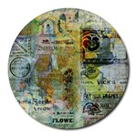 Old Newspaper And Gold Acryl Painting Collage Round Mousepads Front