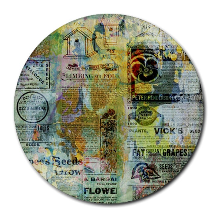 Old Newspaper And Gold Acryl Painting Collage Round Mousepads